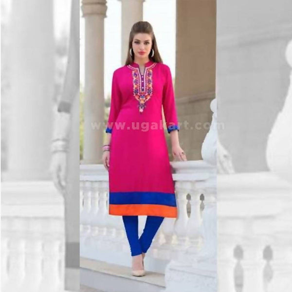 Hot Pink And Blue Long Kurti - Size XXL