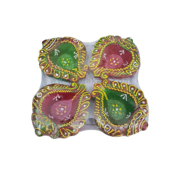 Diwali Diya Green &Pink  4Pc