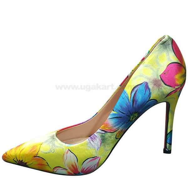 Yellow Flower Printed High Heel Shoe For Women