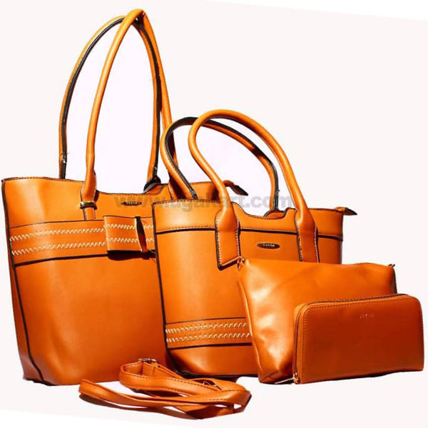 Faux Leather Brown 4PCS Hand Bag