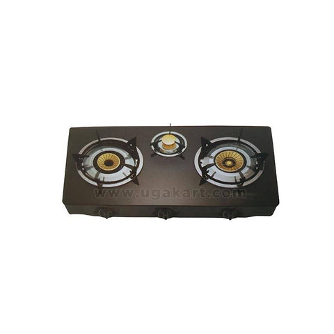 SB-308 - Automatic 3 Burner Table Top Gas Cooker - Black