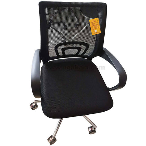Black and Stainless Steel Type 2 Rolling Chair For Office