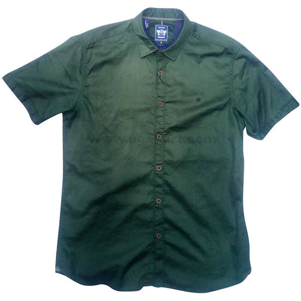 Hunter Green Cotton Solid Half Sleeve Casual Shirt For Men