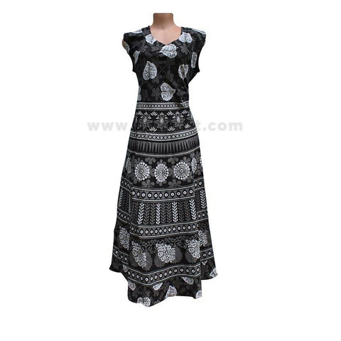 Women Floral Print Sleeveless Dress - Black ( Size XXL/42 )
