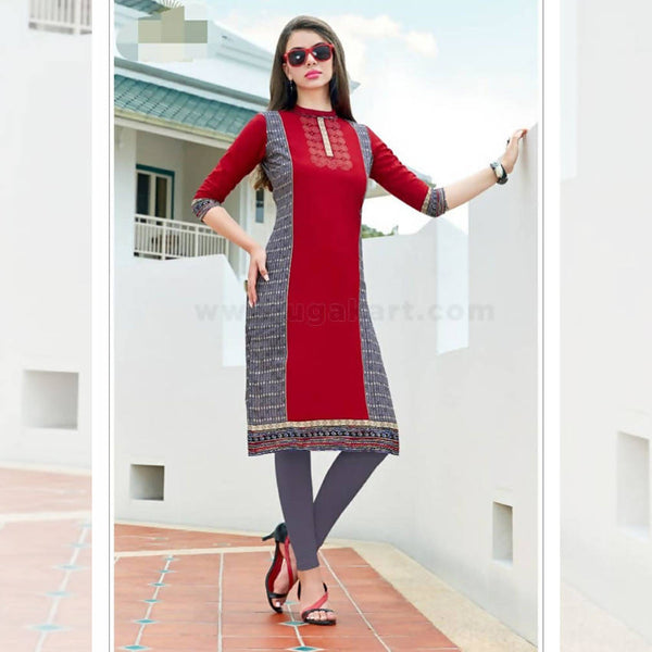 Maroon and Gray Kurti Cotton Top & Legging_XL(38)