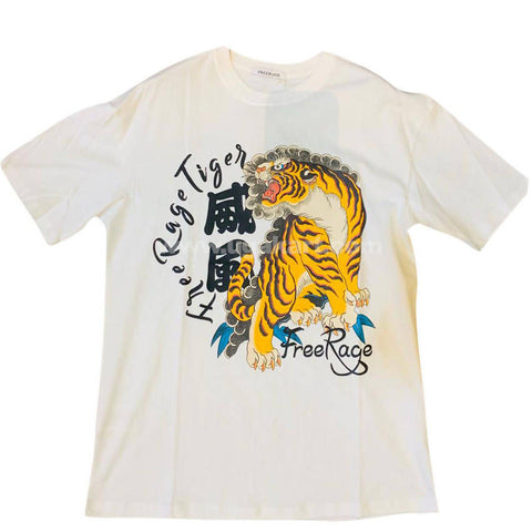 Men's White Round Neck T-Shirt with Tiger Design