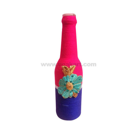 Decoration Hand Made Bottle With Flowers Small-Pink & Blue