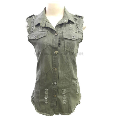 Women's Army Green Thick Fabric Sleeve less Button Down Top_Free Size