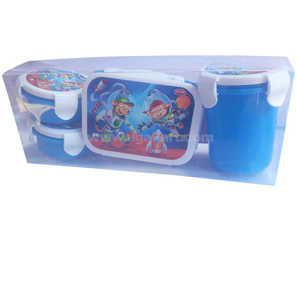 Pratap Blue Lunch Box With Water Bottle Pack Of 4