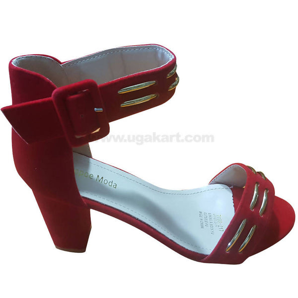 Women's Red Ankle Strap Heel Shoes