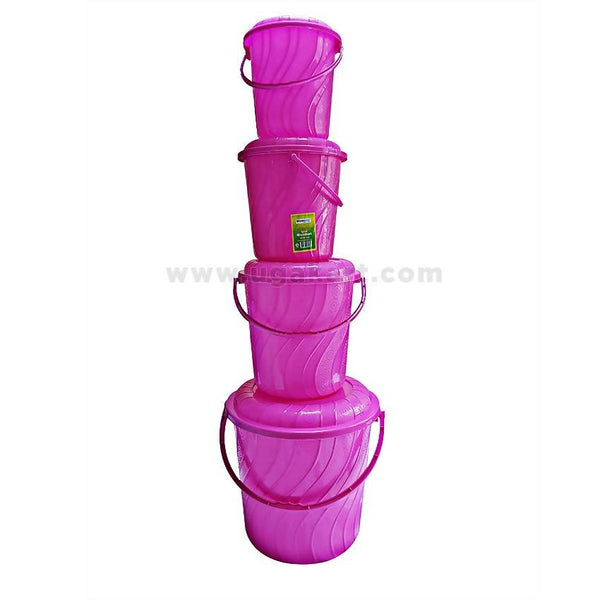 4 Pieces Plastic Buckets - Pink