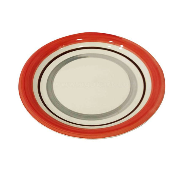 Red And White Ceramic Dinner Plate 6Pcs