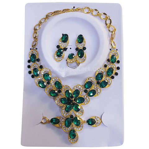 Golden Necklace Set Green CJ Stones and Pearls with Earrings, Bracelet and Ring