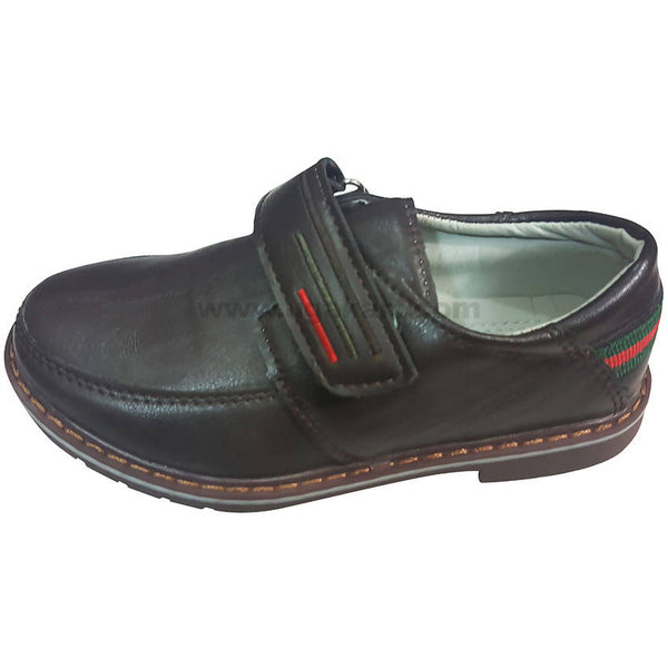 Black Classic Cute Shoes For Kids with Iconic Red & Green Striped(Size-25 to 36)