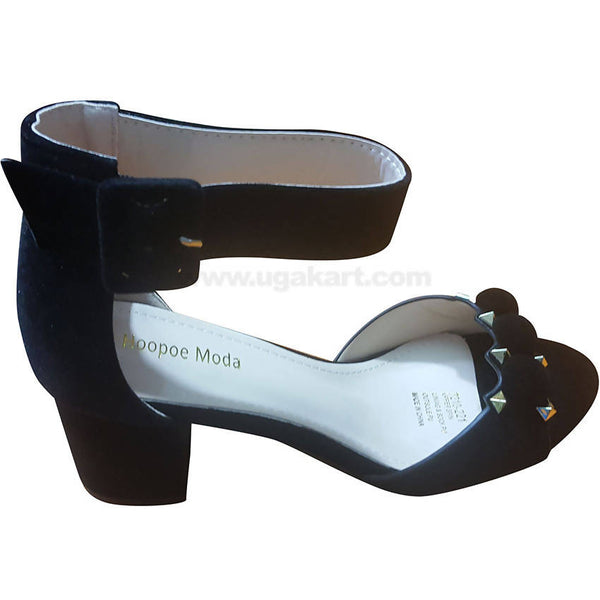 Women's Black Ankle Strap Heel Shoes with Diamond-Like Design