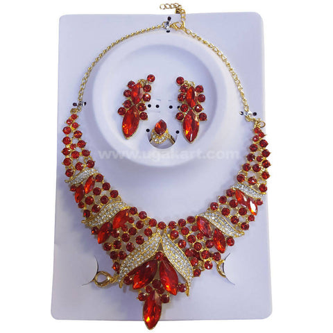 Golden Necklace Set Red CJ Stones and Pearls with Earrings, Bracelet and Ring