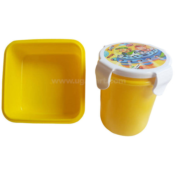 Pratap Yellow Plastic Lunch Box With Bottle Set Of 2