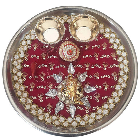 Rakhi Thali_Red and Golden Colour With 1 Pc Rakhi