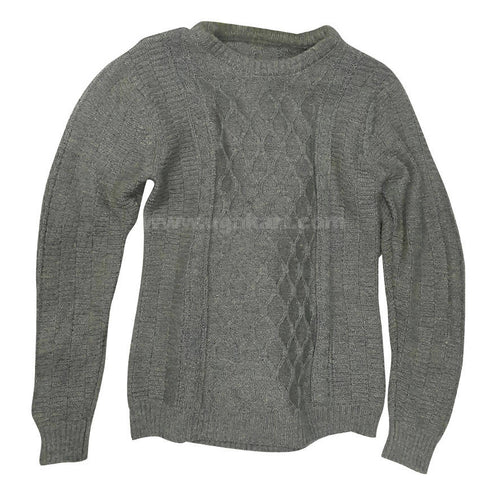 Light Gray Rounded Neck Sweater For Mens