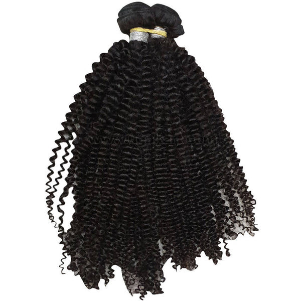 Human Jerry Curly Hair Weave_2Pc_Black