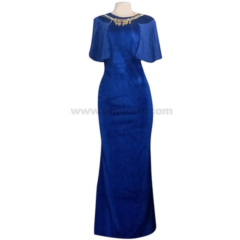 Women's Blue Batwing Round Neck Long Dress