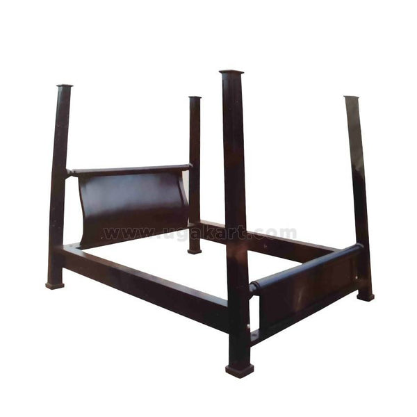 Black Sleigh Design Wooden Double Bed
