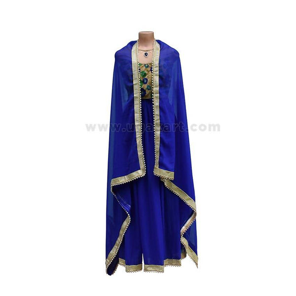 3Pcs Dress/Lehenga - Blue and Golden Color (Blouse/Top)