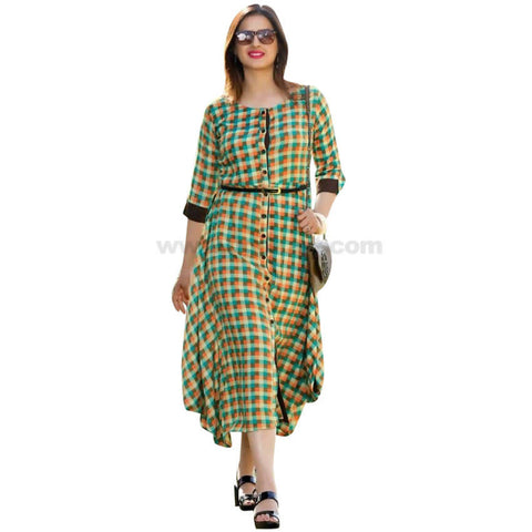 Lime Green Checked Long Dress For Womens
