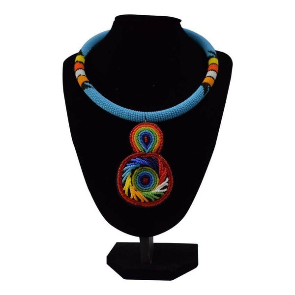 Multicoloured Light Blue Rounded African Necklace