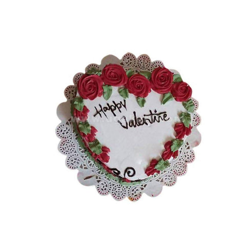 Heart Shaped With Rose Black Forest Fresh Cream Cake