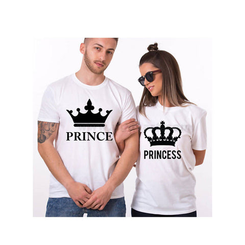 White Couple T-Shirts Printed Prince, Princess With Crown