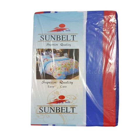 Sunbelt Red and Blue Printed Bedsheet Set of 2 With 2 Pillow Cover (6x6)