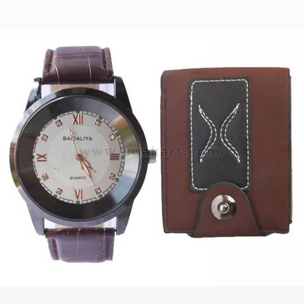 Two Pack Of a Wallet and Baidaliya Watch - Brown