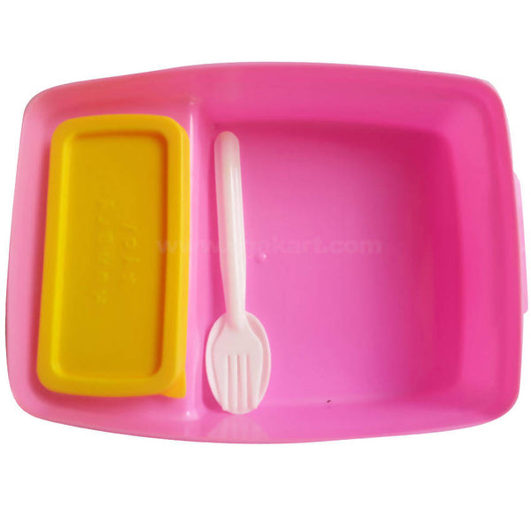 Pratap Yellow Pink Plastic Lunch Box With Spoon