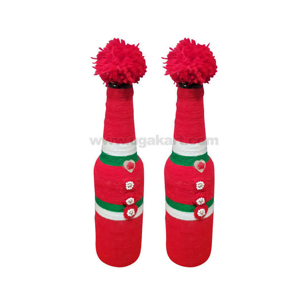 Decoration Hand Made Bottle With Flowers Small-Pair-Red