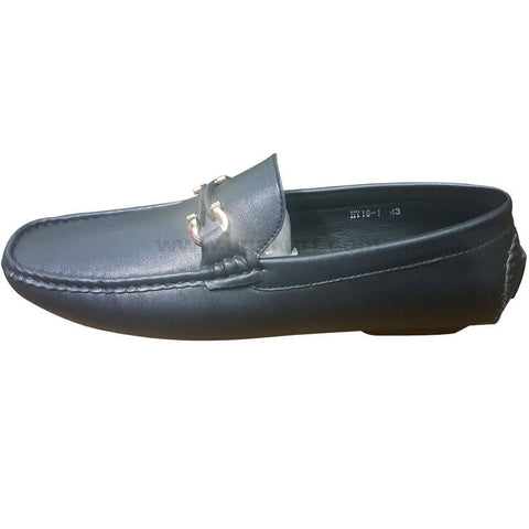 Men's Black Moccasin Shoes with Top Buckle
