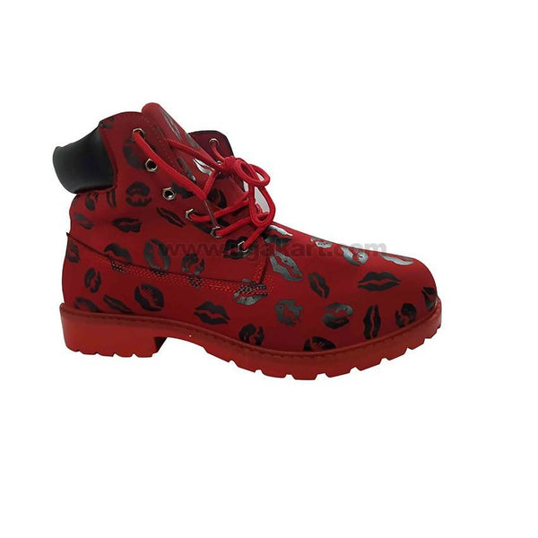 Kiss Red Pattern Hightop Boots