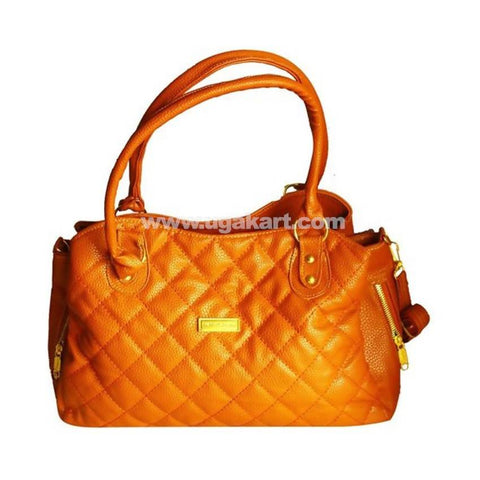 Patterned Leather Handbag For Women - Orange