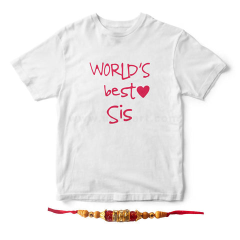 Rakhi T-Shrt Combo 2(Tshirt with print 1 pc + Golden and Red Rakhi 1Pc)