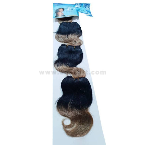 Human Hair-Black & Golden- 4 Pc With 6 Inch