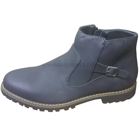 Men's Navy Blue Leather Ankle Boot