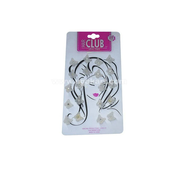 Butterfly Design Hair Club Lead - Silver - 20 Pack