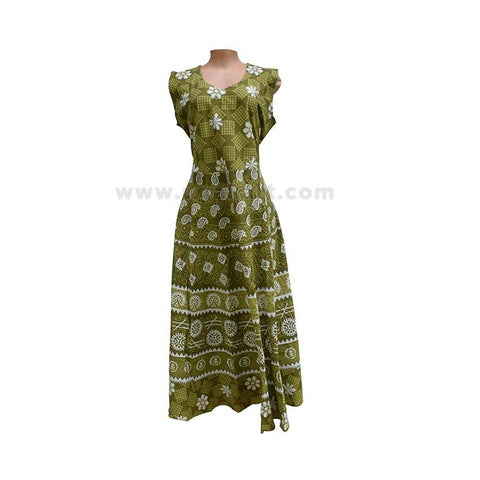 Ladies Floral Printed  Long Sleeveless Dress  - Green  ( Size XXL/42 )