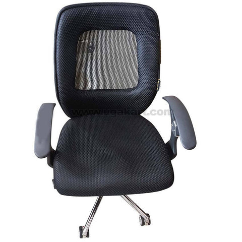 Black and Stainless Steel Type 3 Rolling Chair For Office