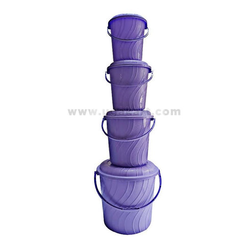 4 Pcs Plastic Buckets - Purple