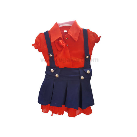 Red Top And Blue Jeans Dungaree For Girl_1 to 5 yr