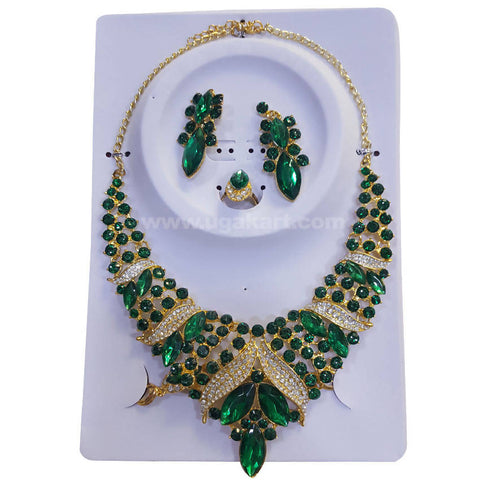 Necklace Set Green CJ Stones and Pearls with Earrings, Bracelet and Ring