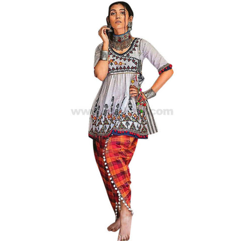 Bottom With Long Top Pure Cotton With Traditional Indian Work Size XL