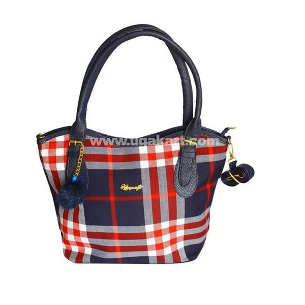 Ladies Plaid Leather Tote Handbag - Navy Blue, Red