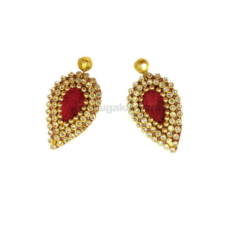 Handcrafted Red and Golden Earrings